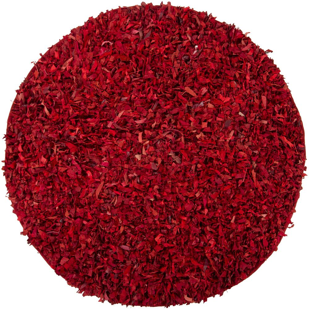Hand-woven Mandara Red Leather Shag Rug (4'9 Round)