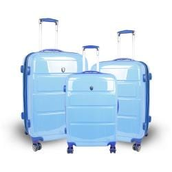 J World Sky Blue 'Vanesta' 3-piece Polycarbonate Spinner Luggage Set