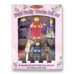 Melissa & Doug Set of Six Wooden Family Collectible Poseable Dolls