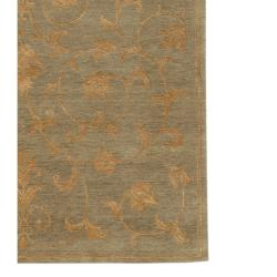 Hand-knotted Ankara Brown Wool and Art Silk Rug (5'6 x 8'6)