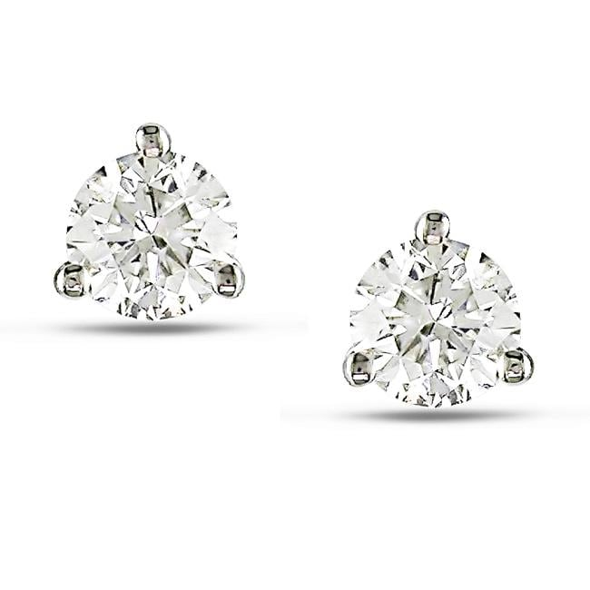 14k White Gold 1/2ct TDW Diamond Martini Stud Earrings (H-I, SI2)