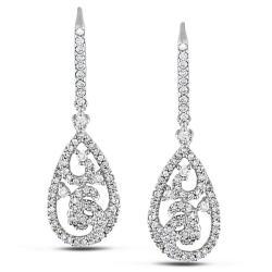 Miadora 14k White Gold 3/4ct TDW Diamond Flower Earrings (G-H, SI1)