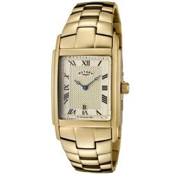 Rotary Men's Champagne Textured Dial Gold Ion-plated Watch