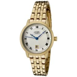 Rotary Women's Champagne Textured Dial Gold Ion-plated Watch