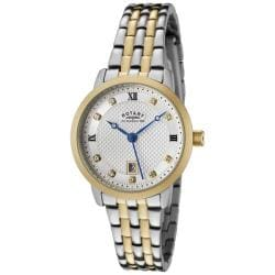 Rotary Women's Silver Textured Dial Two-tone Crystal Watch