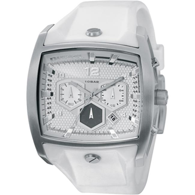 Diesel Men's Stainless Steel Case White Silicon Strap Chronograph Watch