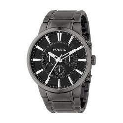 Fossil Men's Ion-plated Stainless Steel Black Dial Chronograph Watch