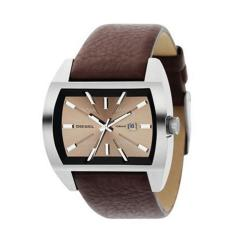 Diesel Men's Stainless Steel-case Brown-leather-strap Japanese-quartz Watch