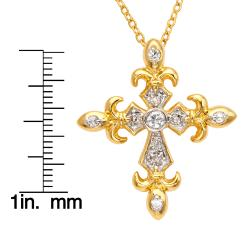 Goldtone White Cubic Zirconia Cross Necklace