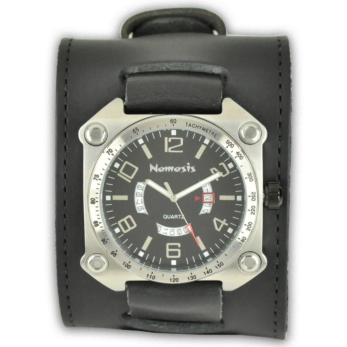 Nemesis Men's Black Calendar Leather Band Watch