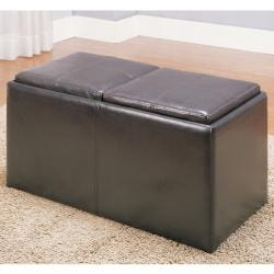 Landon Dark Brown Bi-cast Vinyl Storage Bench