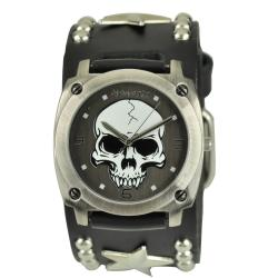 Nemesis Men's Punk Rock Star Skull Leather Band Watch