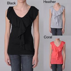Coolwear Juniors Ruffled V-neck Cutout Back Top