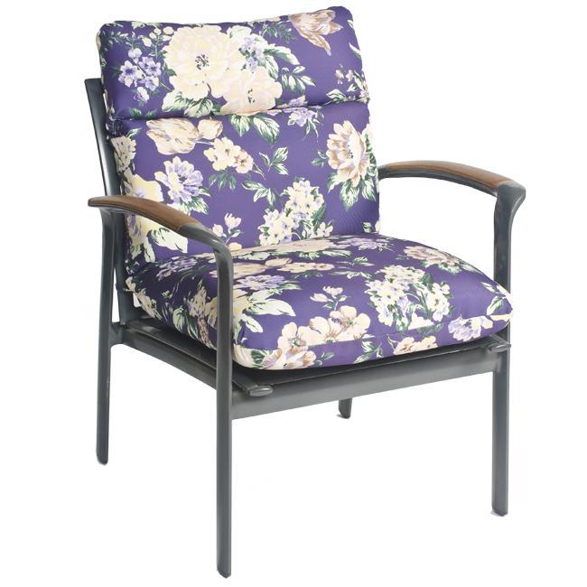 Pia Floral Outdoor Purple Patio Club Chair Cushion