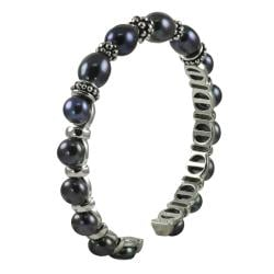 Pearls For You Silver Black Freshwater Pearl Cuff (6.5-7.5 mm)