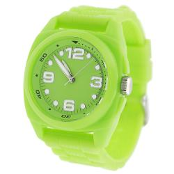 Geneva Platinum Women's Neon Green Silicone Strap Watch