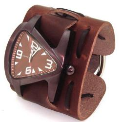 Nemesis Men's Signature Brown Cooper Triangle Leather Band Watch