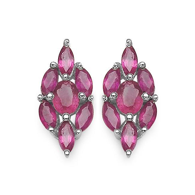 Malaika Sterling Silver Genuine Ruby Earrings