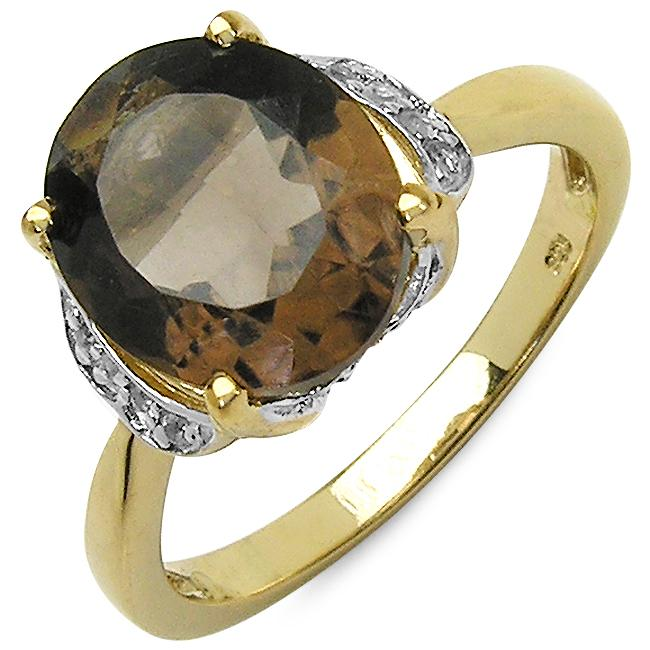 Malaika Sterling Silver Oval-cut Smoky Quartz Ring