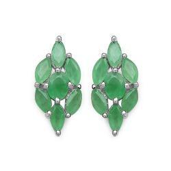 Malaika Sterling Silver Genuine Emerald Earrings