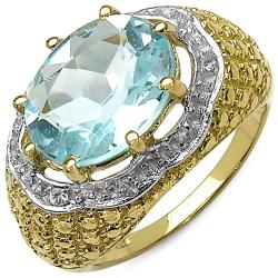 Malaika 14k Gold over Silver Blue Topaz and White Topaz Ring