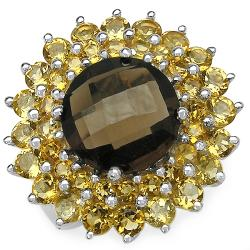 Malaika Sterling Silver Smokey Quartz and Citrine Cluster Ring
