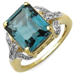Malaika 14k Gold over Silver London Blue Topaz and White Topaz Ring
