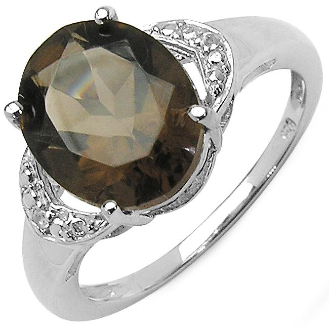 Malaika Sterling Silver Oval-cut Smoky Quartz and White Topaz Ring