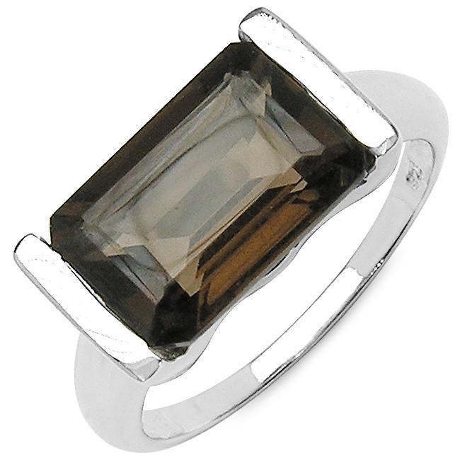 Malaika Sterling Silver Emerald-cut Smokey Quartz Fashion Ring