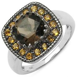 Malaika Sterling Silver Citrine and Smokey Quartz Ring