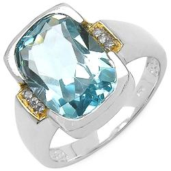 Malaika Sterling Silver Blue Topaz Two-Tone Ring