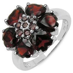 Malaika Sterling Silver Genuine Garnet Hearts Ring