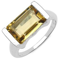 Malaika Sterling Silver Emerald-cut Citrine Fashion Ring