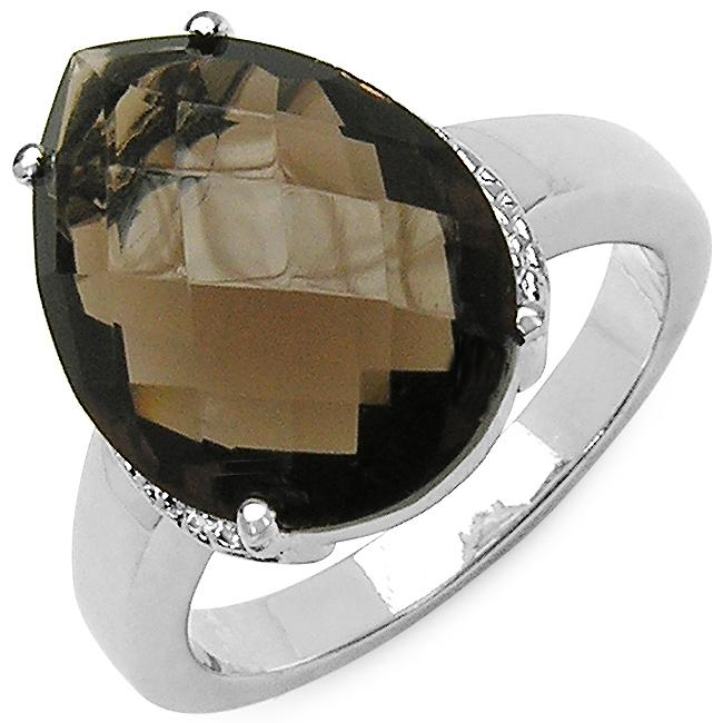 Malaika Sterling Silver Smoky Quartz Solitaire Ring