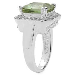 Malaika Sterling Silver Topaz and Green Amethyst Ring