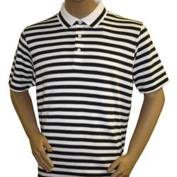 Ashworth EZ-Tech Striped White/ Navy Polo Golf Shirt