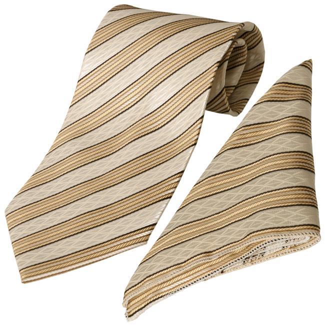 Boston Traveler Men's Lime Striped Tie Hanky Set