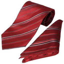 Boston Traveler Men's Striped Tie Hanky Set