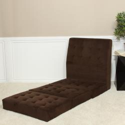 Brown Fold-out Microfiber Chair Sleeper Bed