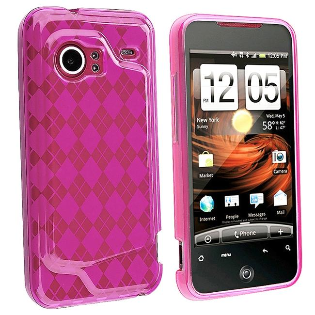 Clear/ Hot Pink Argyle TPU Rubber Case for HTC Droid Incredible