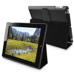 Carbon Fiber Stripe Leather Case/ Holster and Stand for Apple iPad 2