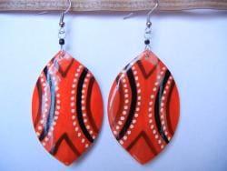 Cow Bone Red Shield Drop Earrings (Kenya)