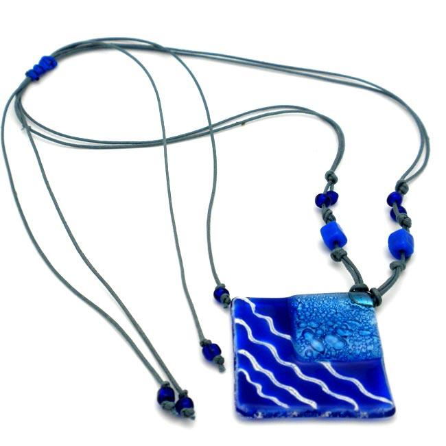 Cotton Cord and Blue Fused Glass Rhombus Wave Necklace (Chile)