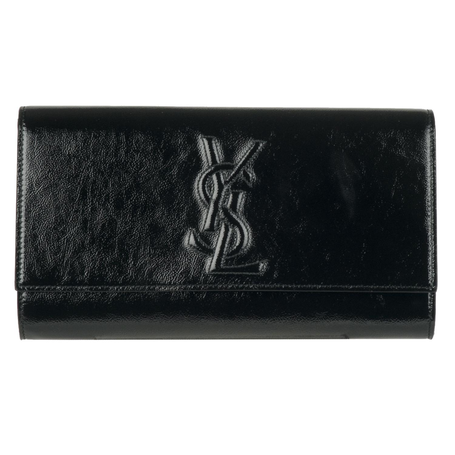 blue yves saint laurent bag - Yves Saint Laurent 203855 Large Black Patent Leather Clutch ...