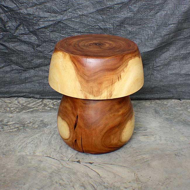 Monkey Pod Wood 20-inch Mushroom Solid End Table (Thailand)