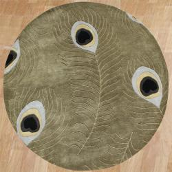 Hand-tufted Sage Green Peacock Wool Area Rug (6' Round)