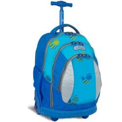 J World &#39;Sweet&#39; Blue Bees 17-inch Kids Ergonomic Rolling Backpack