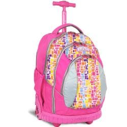 J World 'Sweet' Neon Squares 17-inch Kids Ergonomic Rolling Backpack