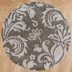 Alliyah Handmade Grey New Zealand Blend Wool Rug (6' Round)