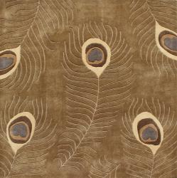 Hand-tufted Brown Peacock Wool Area Rug (6' x 6')